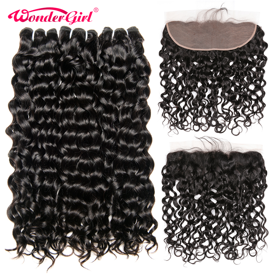 13x4 Brazilian Water Wave Bundles With Closure Wonder girl Remy Hair 3 Bundles With Frontal Human