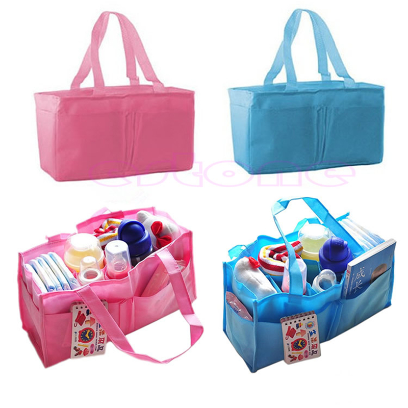 High Quality Practical Mother Handbag Baby Diaper Nappy Bag Milk Bottle Storage Organizer Blue Black