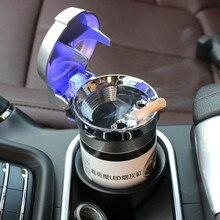 Cinzeiro do carro com Luz LED Cigarro Cinzeiro do Charuto Recipiente Cilindro de Cinzas Fumaça Copo Fumaça Copo De Armazenamento Titular Auto Acessórios