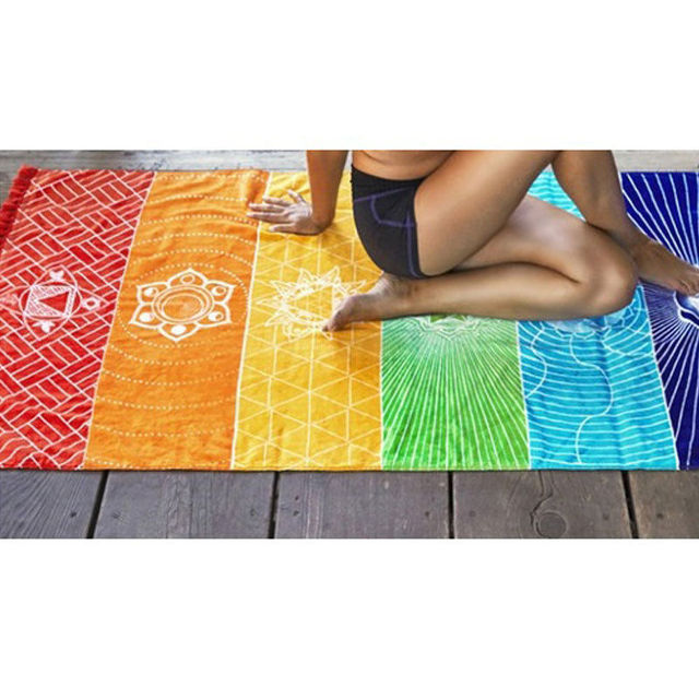Dropship! Single Rainbow Chakra Tapestry Towel Carpet Mandala Boho Stripes Travel Yoga Mat Outdoor Mats 150x70cm/100x45cm 4