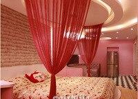 hot sale 3m by 3m beige grey coffee red purple white color door window screening rod pocket string curtain