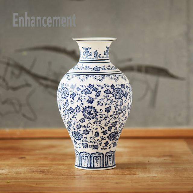 Blue and White Porcelain Vases Interlocking Lotus Design Flower Ceramic Vase Handmade Home Decoration Jingdezhen Flower Vases 5