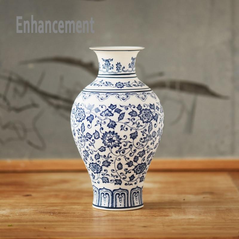 produs blue and white porcelain vases interlocking lotus design