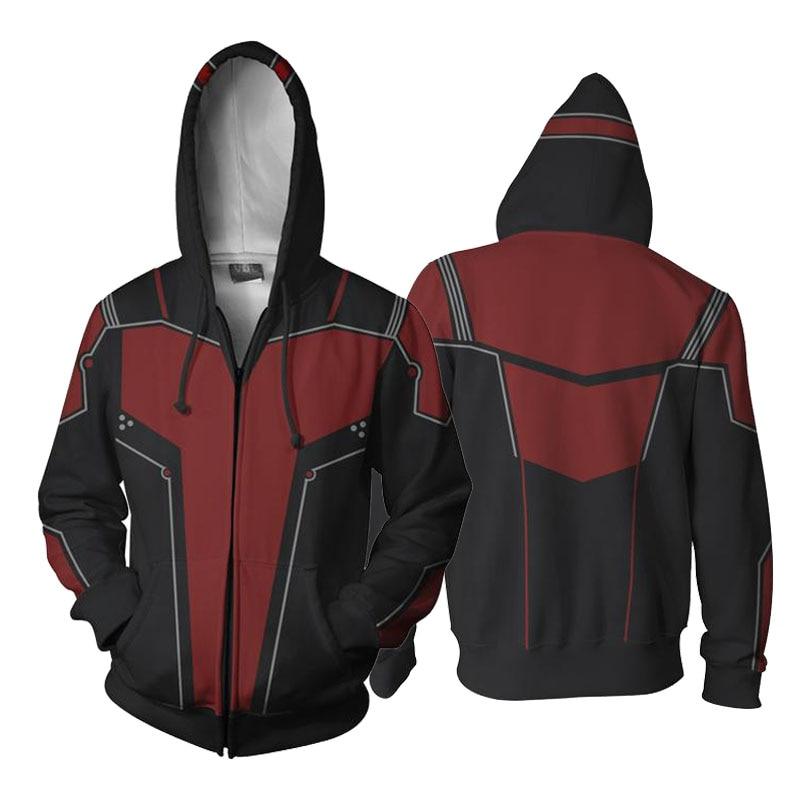 2018 Superhero Ant-Man 3D Printing Hoodies Unisex Thicken Fleece Winter Zip-Up Pocket Sweatshirts Autumn Winter Jacket