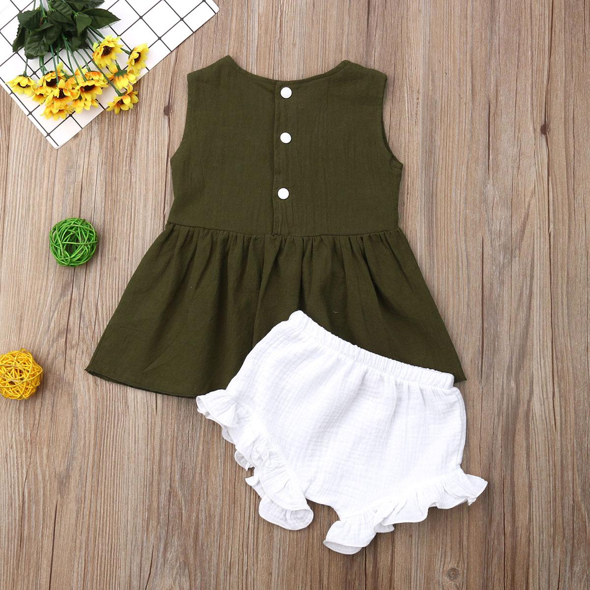 2PCS Baby Kids Girls Summer Outfits Toddler Top Shirt Pants Shorts Clothes Set