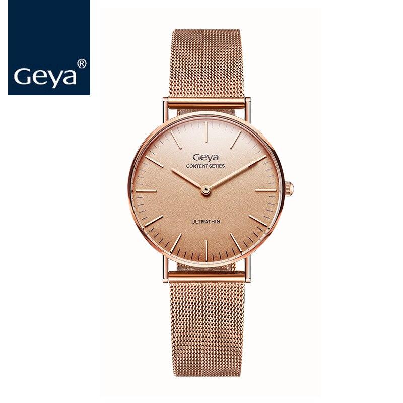 0fc4cadb246 Geya Japan Miyota Movement Fashion Women Wristwatch Luxury Brand Gold Strap  Female Quartz Clock Simple Dial