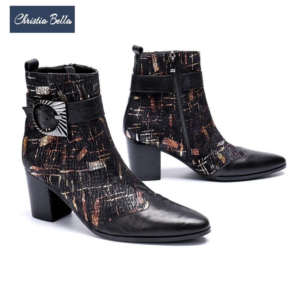 Christia Bella mode en cuir véritable hommes robe bottes hommes hiver à talons hauts bottines grande taille britannique formelle fête chaussures