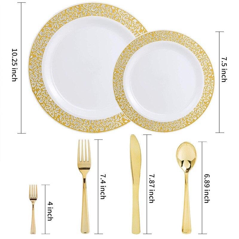 150 pcs Gold Plastic Platen met Wegwerp Plastic Zilverwerk, Kant Ontwerp Wedding Party Plastic Servies Sets voor alle Vakanties-in Wegwerpfeestservies van Huis & Tuin op  Groep 2
