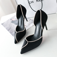2018 new women's single shoes Korean fashion pointed hollow high heels summer sexy suede casual work shoes Pumps