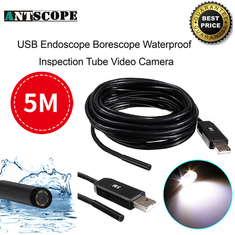Antscope USB Endoscope Camera 5M Lens Snake Tube Mini USB Borescope Inspection Camera for PC Waterproof Endoskop Camera antscope wholesale 7mm lens mini usb android endoscope camera waterproof snake tube 2m inspection usb borescope endoskop camera