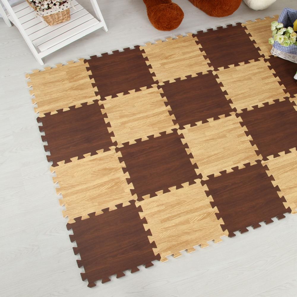 Meitoku Zachte EVA Foam puzzel kruipen mat; 10 stks hout interlock - Speelgoed voor kinderen - Foto 6