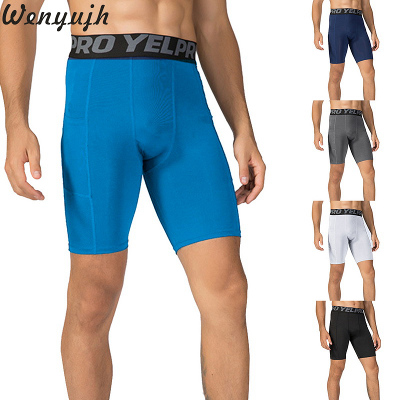 Wenyujh 2019 Men's Compression Shorts Line Short Tights Skinny Bodybuilding Breathable Man's Bottom Fitness Sports  Shorts
