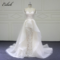 Eslieb Illusion High End Lace Shinning Wedding Dress 2018 Sweetehart Court Train Mermaid Wedding Dresses Sexy