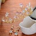 Brillante Estrella de Oro de La Boda Celada de Pelo Accesorios de Joyería Nupcial Prom Tiara de La Corona de La Vendimia de Las Mujeres