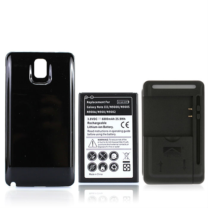 For Galaxy Note3 6800mAh Extend Battery+Back Cover Case+USB Wall Charger For Samsung Galaxy Note 3 N9000 N9005 N900A N9002 N900