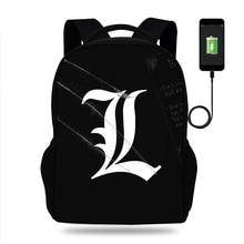 цены Anime Death Note Backpack School Bags Mochilas Teenagers Men women's Backpacs travel Shoulder Bag Laptop  USB Charging backpack