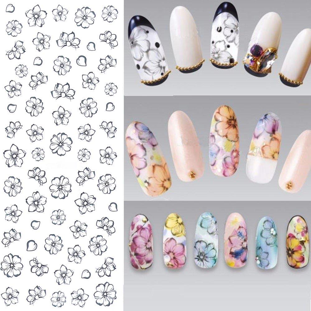 TOMTOSH DIY Designer Wasser übergangs Nails art Aufkleber Bunte Lila ...