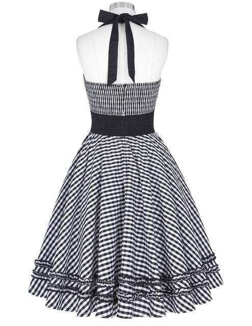 Women summer plus size clothing 2016 vintage grid pattern backless halter cotton party picnic dress 50s vintage dresses
