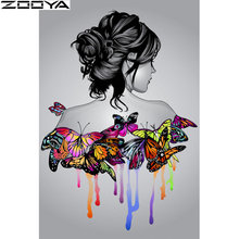Full square diamond painted cross-stitch woman and butterfly full round / mosaic 5D DIY embroidery  K0011