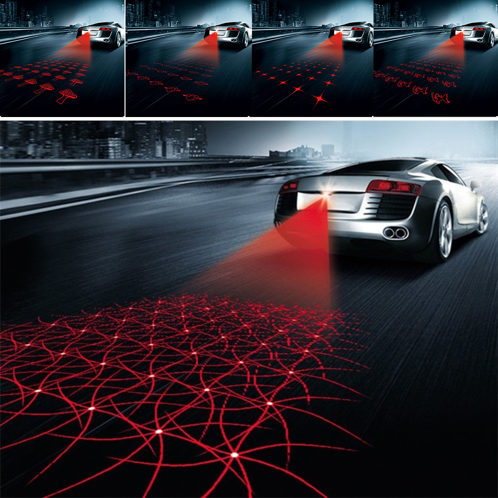 Car Styling Laser Anti Collision Rear-end 12v Led Car Fog Light Warning Light Car Tail Brake Light Parking Light Car Accessori car styling quadrangle anti collision rear end car laser tail 12v led car fog light auto brake lamp rearing car warning light