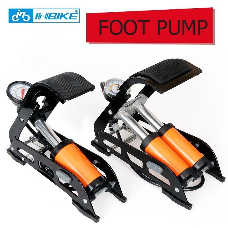 INBIKE Bike Car Pump Foot Pump with Accurate Gauge Bicycle Pump MTB//Motorcycle//Car Schrader/& Presta High Pressure Inflator Single Double Barrel