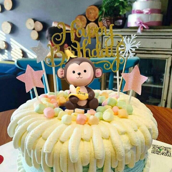 7CM Cute Banana Monkey Scene Couple Monkey Ornaments Birthday Cake Decoration