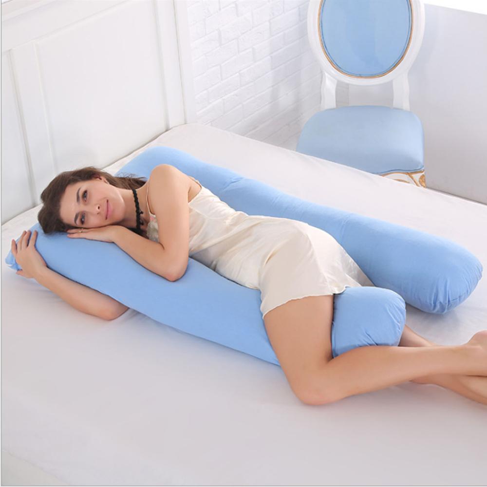 Soporte dormir para las mujeres embarazadas cuerpo 100% algodón funda de almohada en forma de U almohadas de maternidad embarazo Side Sleepers cama