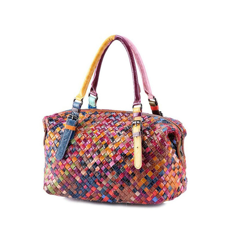 ФОТО New women vintage handbag Fashion Knitting Cowhide leather solid shoulder bag casual high quality women Bolsas femininas W0077