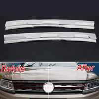 Car Styling Mesh Grill Grille Cover Trim Chrome Decoration Molding For Volkswagen VW Tiguan Mk2 2016
