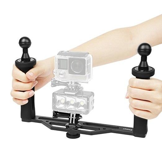 Poignée de stabilisateur de poche en alliage d'aluminium pour GoPro 6/5/4/3 +/3 SJCAM et caméscope pour caméra vidéo tout LED avec-in Accessoires pour caméscope from Electronique    1