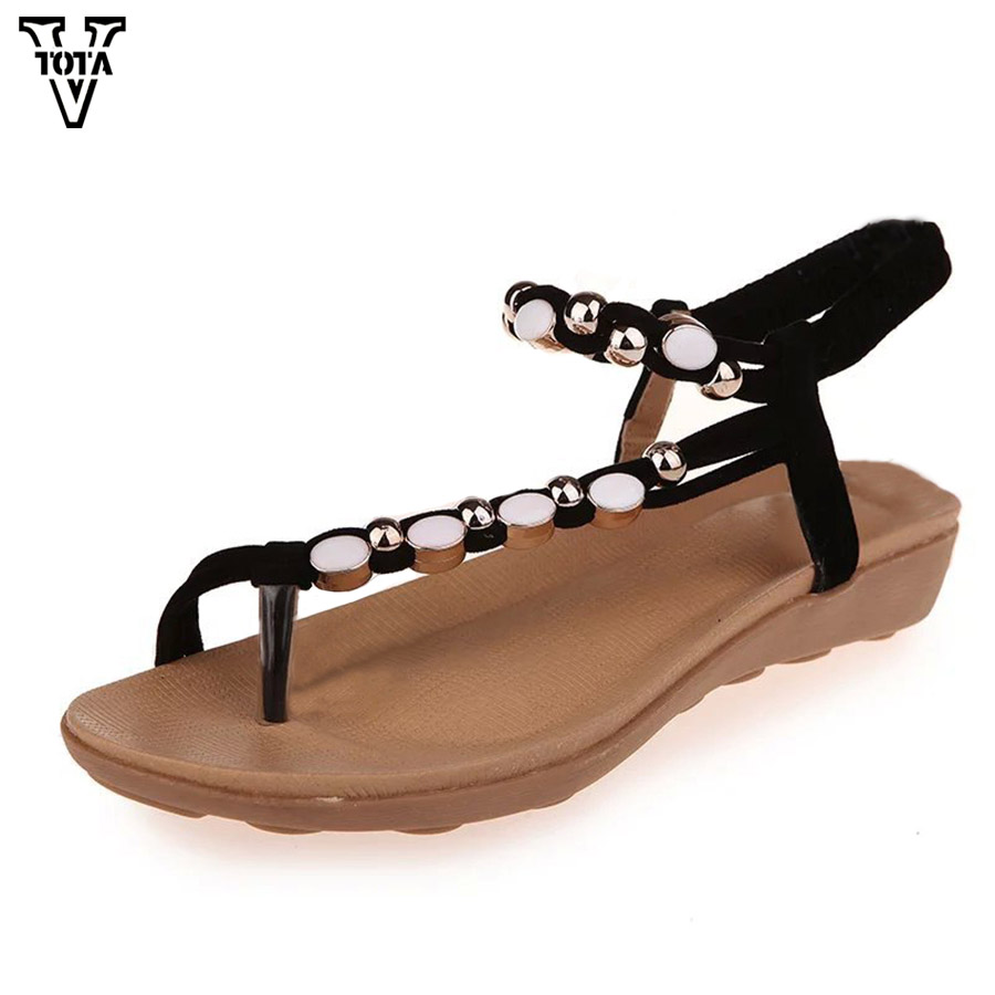 VTOTA 2018 String Bead Summer Shoes New Women Sandals Woman Shoes Slip On Flip Flops Zapatos Mujer Shoes For Woman Flats QYXC woman shoes flip flops sandals foam zapatos mujer ladies shoe summer wedge high heels bohemia beach flip flop casual sapatos new