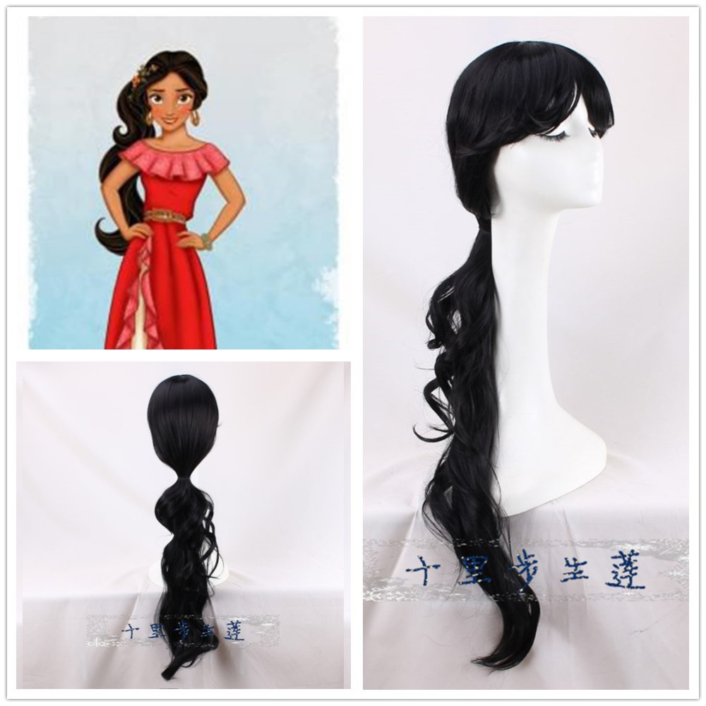 Princess Elena Cosplay Wig Middle Parting Black Long Straight Pigtail Women Girls Synthetic Hair