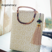 Angelatracy 2018 Classical Women Handbag White Cotton Tote Bag for Beige Lace Beach Bags Handmade Bamboo Tassel French New