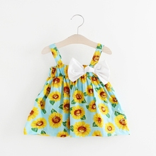 WYNNE GADIS Bohemian Style Baby Girls Sunflower Spaghetti Strap Bow Princess Party Summer Beach Dress Kids Infant Dresses