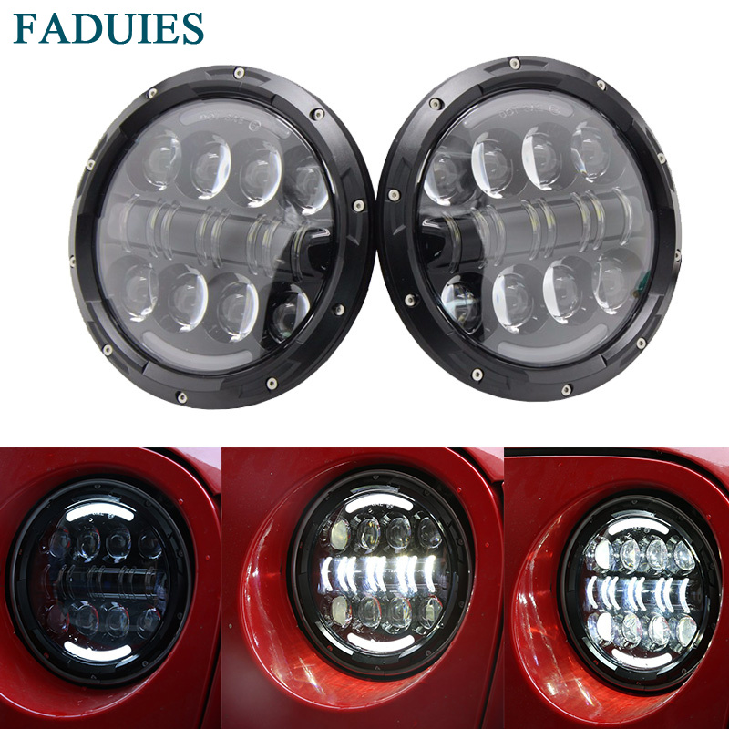 FADUIES 7 inch LED Halo Headlights Kit 7 LED Headlight H4 Hi/low Beam With Angle Eye For Jeep Wrangler JK TJ Hummer Defender
