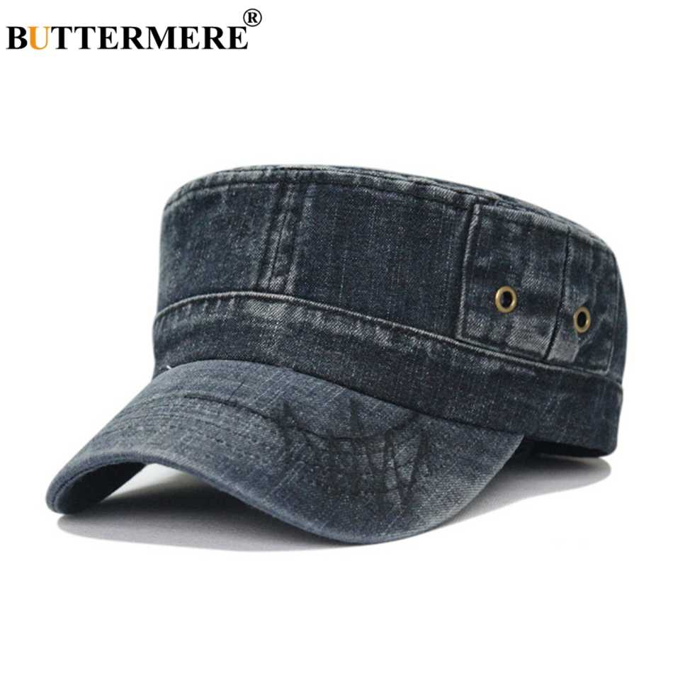 ada3cf9d36f38e BUTTERMERE Army Hats Denim Mens Vintage Spring Summer Baker Boy Hat Male  Casual Flat Top Jeans