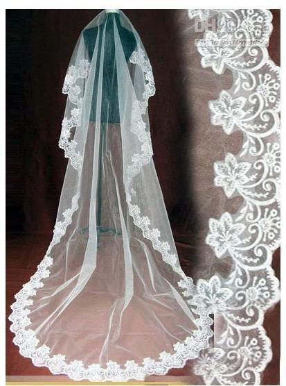 Cheap! 2014 Lace Edge White Ivory Tulle Long Wedding Veils Free Shipping Wedding Accessories V6