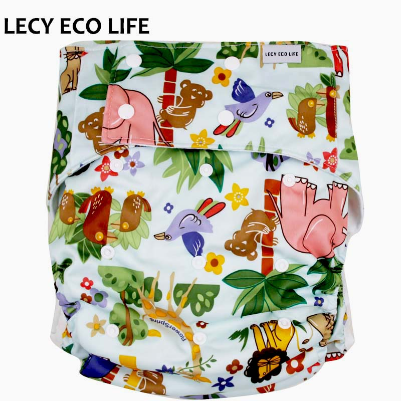 LECY ECO LIFE PUL printed incontinence underwear for disabled person, Cloth reusable adult diaper pants with snap button closure