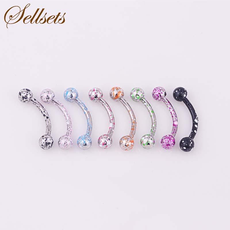 Sellsets Mix 8pcs/lot Coating Stainless Steel Balls Eyebrow Piercing Helix Curved Barbells Eyebrow Ring Body Jewelry Wholesale