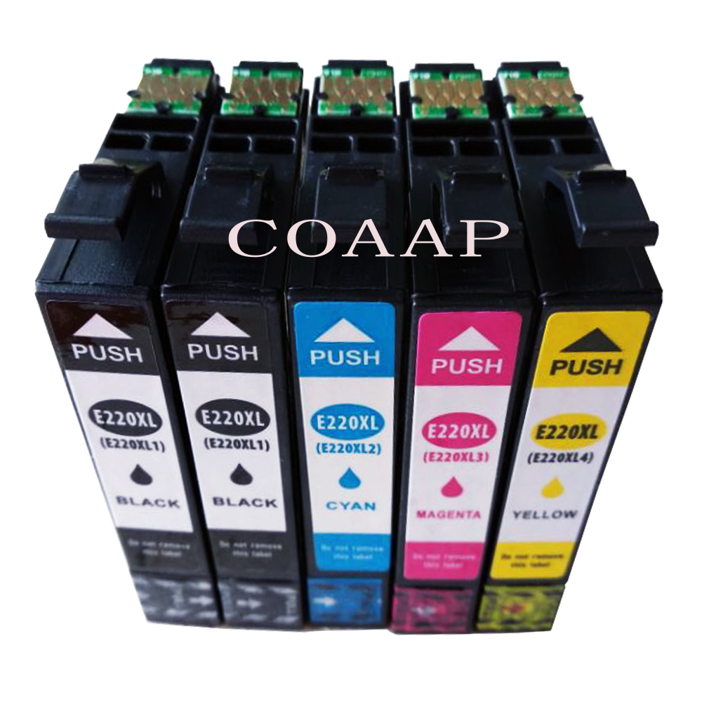 5 PCS / LOT T220XL Kartrid Tinta Untuk Epson XP-320 XP-420 XP-424 WorkForce WF-2630 WF-2650 WF-2660