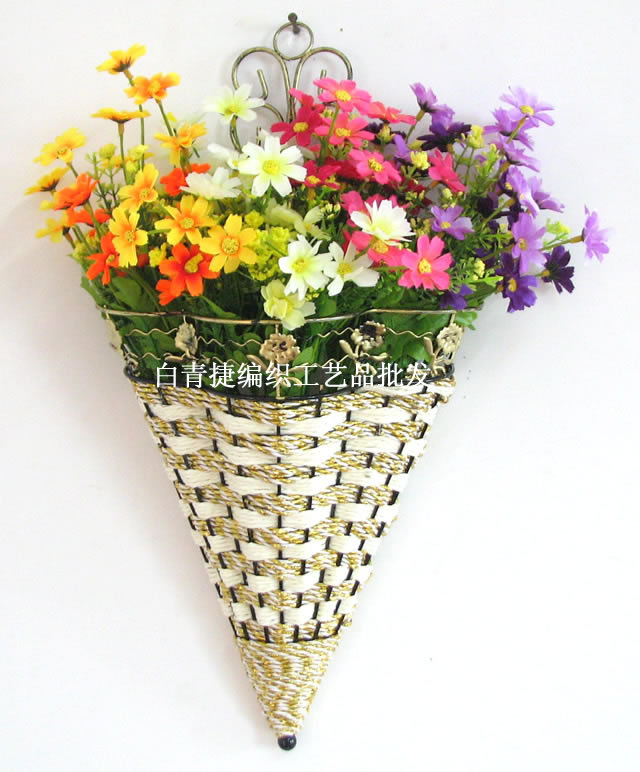 modern fashion home decoration rattan iron wall hanging vase flowers in basket artificial dried flower - Home Decor Wall Hangings