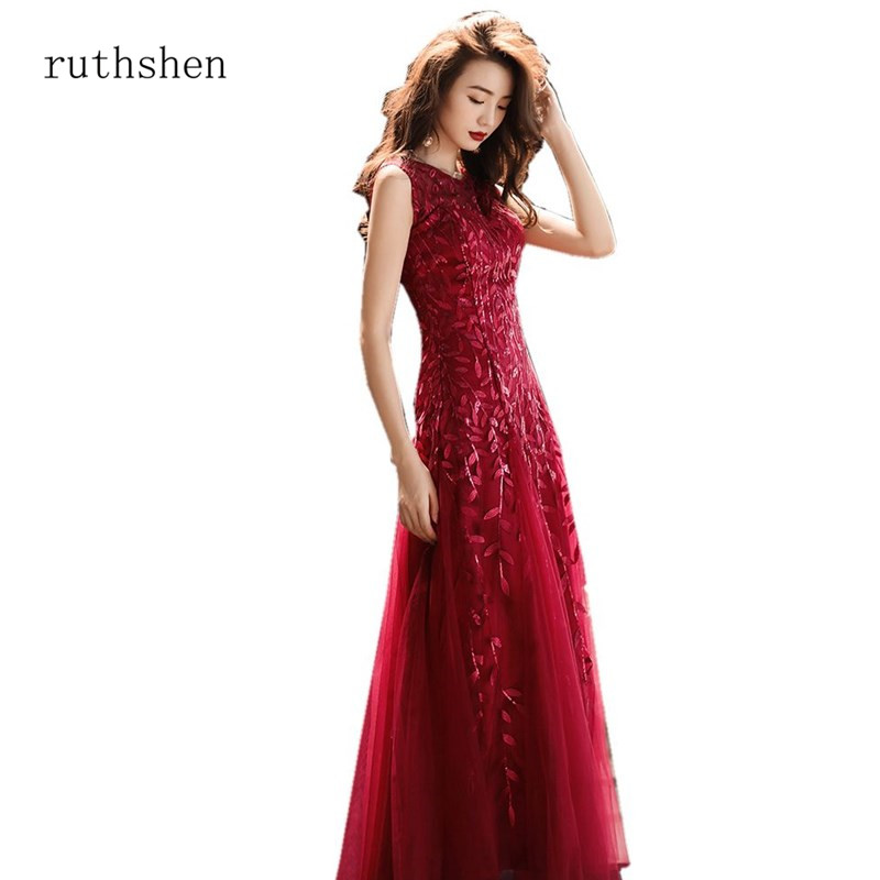 ruthshen Elegant Party Gowns Illusion Sleeveless Burgundy Color A-line Sequined   Prom     Dresses   Vestido De Formatura Longo 2018 New