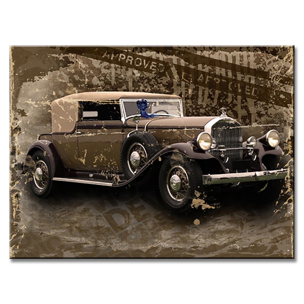 ②1 Adet Natürmort Eski Araba Tuval Baskılar Boyama Retro Rolls