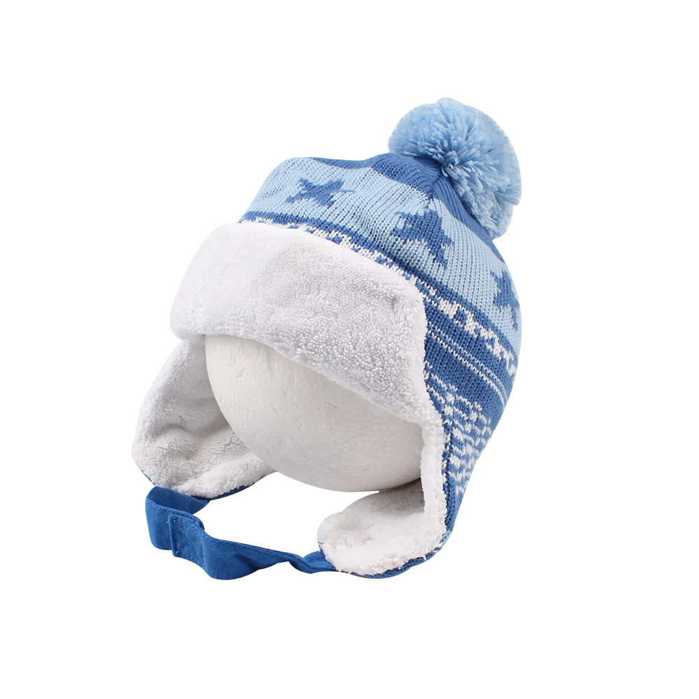 Star Fashion Baby Hat Knitted Earflap Hat For Boys Velvet Warm Winter Baby Beanie Lace Up Ear Protect Baby Boys Clothing