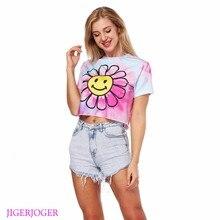 JIGERJOGER/ летняя футболка с круглым вырезом и пупком, футболка для поясничных девушек, женская футболка с принтом в виде бабочки, смайлика, подсолнечника, розовых облаков, Обрезанные рубашки