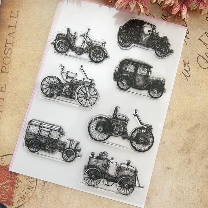 The car design for Christmas gift DIY scrapbook paper card rubber transparent clear stamp 15.5X22CM  T-0227 clear acrylic a3a4a5a6 sign display paper card label advertising holders horizontal t stands by magnet sucked on desktop 2pcs