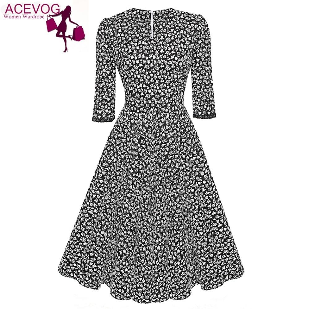 ACEVOG Marka 1950s Sukienka Jesień Wiosna 3/4 Rękawem Kobiety Moda - Ubrania Damskie - Zdjęcie 3