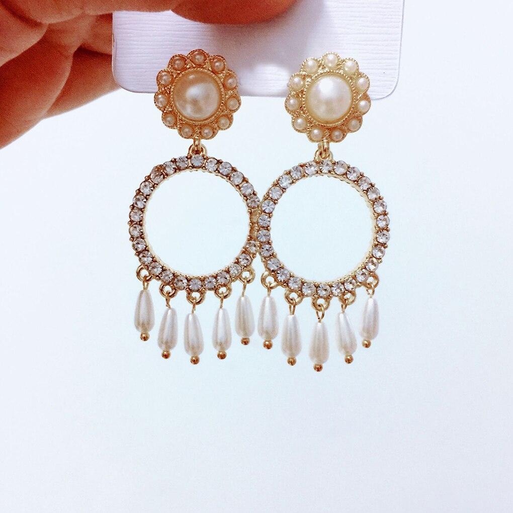 New style Women Drop Dangle Earrings Korean Style Rhinestone Love Heart Earrings Girl Charm Pearl Tassel Pendant Ear Pretty