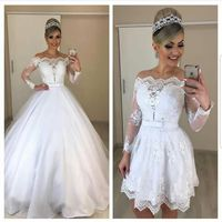 С длинным рукавом свадебное платье 2019 халат mariée аппликация кружево Съемная Шлейфы для свадебных платьев ручной работы свадебные платья