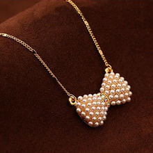 2015 Summer Jewelry Collares Hot Design Cute Bow Pendant Charm Chain Necklace Imitation pearl For Woman High Quality Jewelry